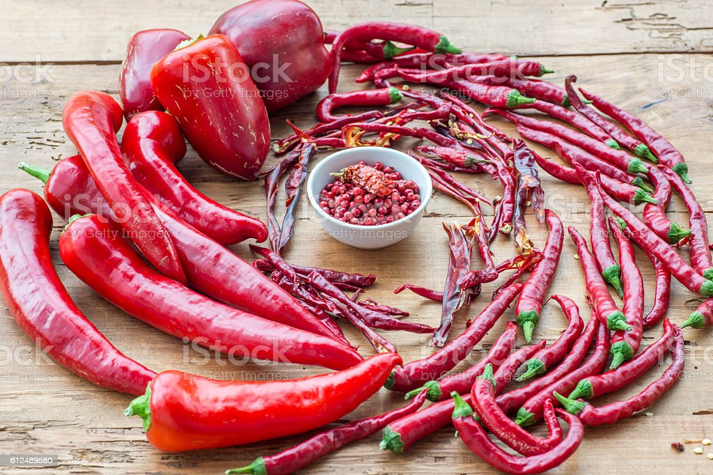 Thai pepper, Chilli Padi, Bird Chilli stock photo