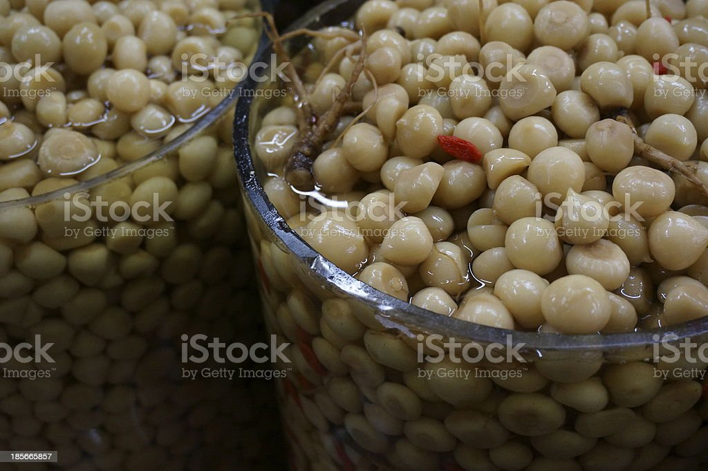 Thai Pickled Garlic with Ginseng royalty-free stock photo
