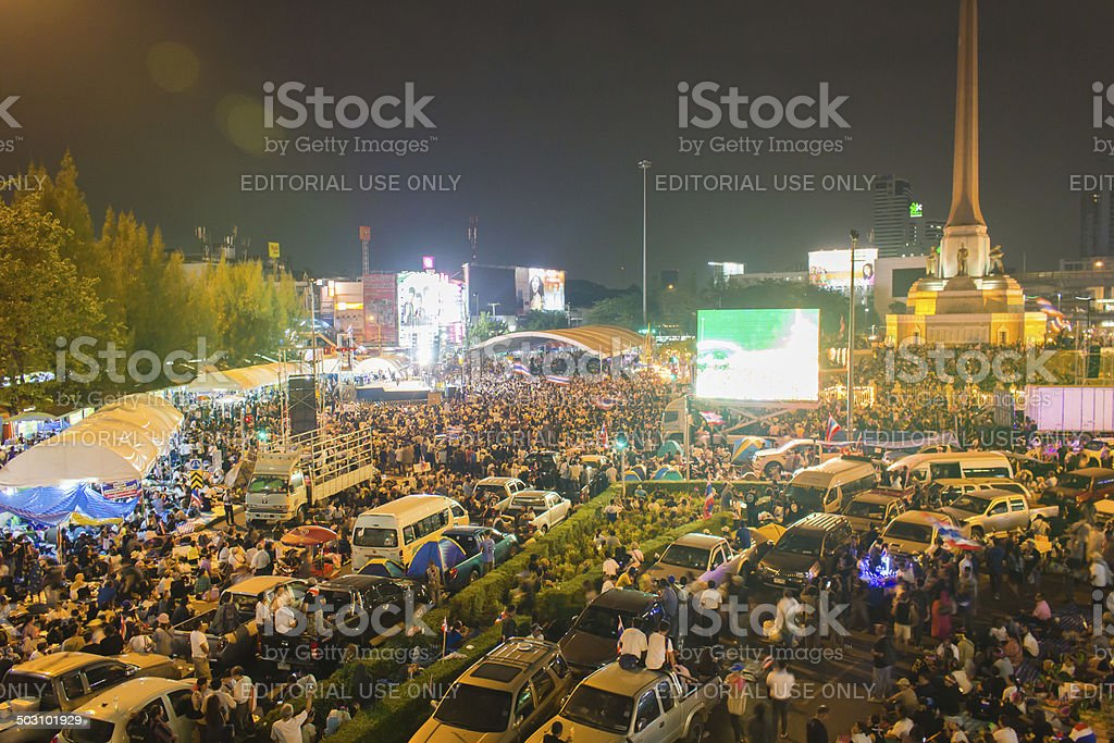 Thai political mob at Victory Monument stock photo