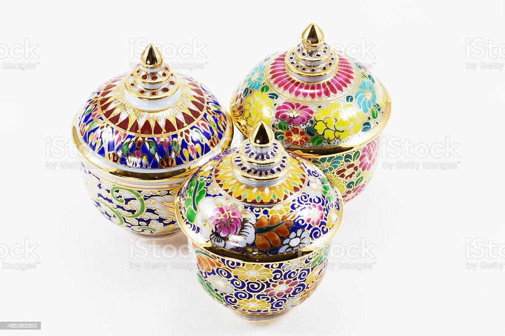 Thai porcelain on white background stock photo