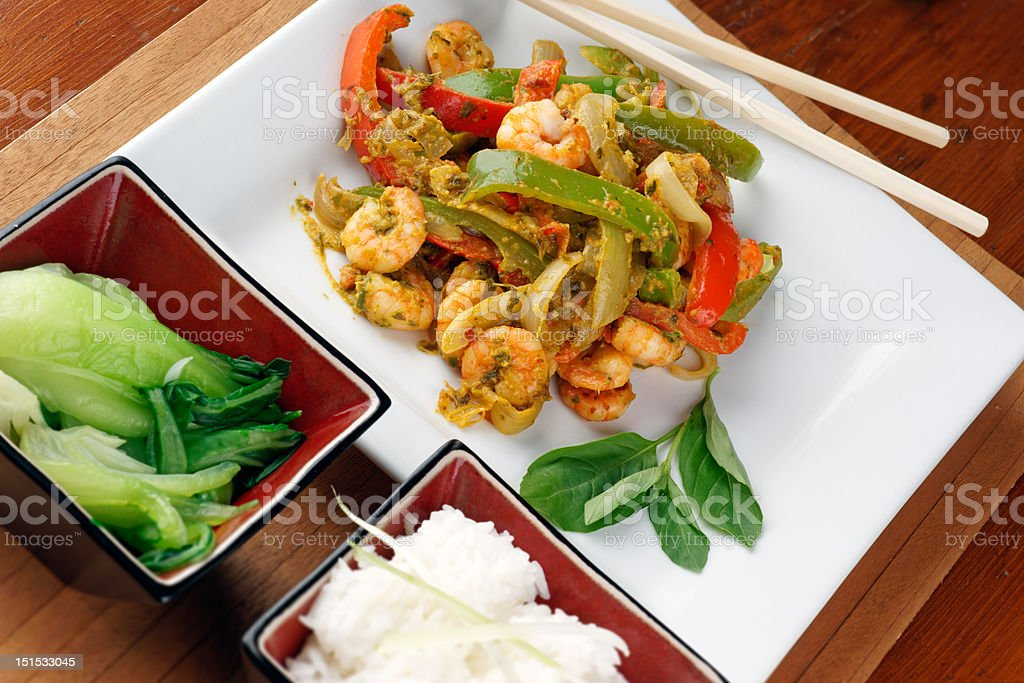 Thai prawn stir fry royalty-free stock photo