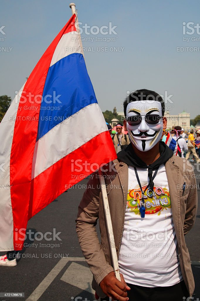 Thai protester wearing  Guy Fawkes mask stock photo