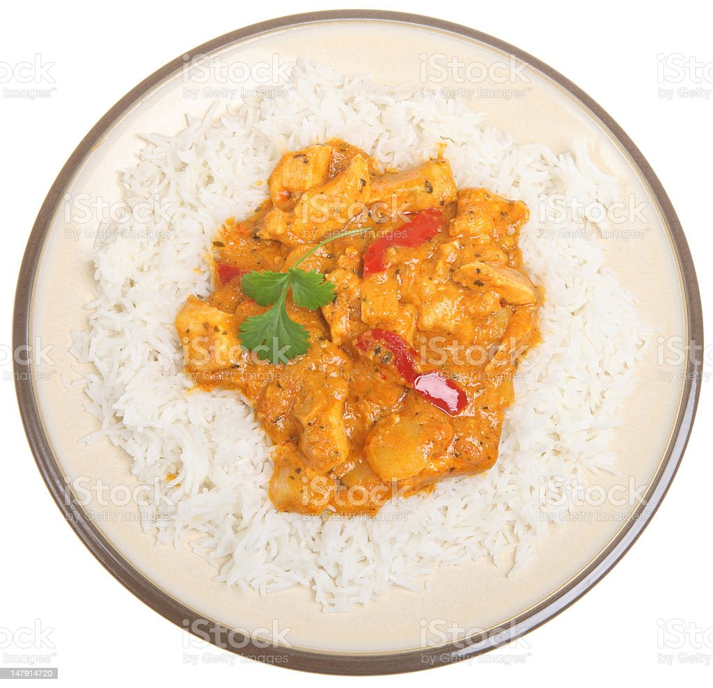 Thai Red Chicken Curry & Rice stock photo