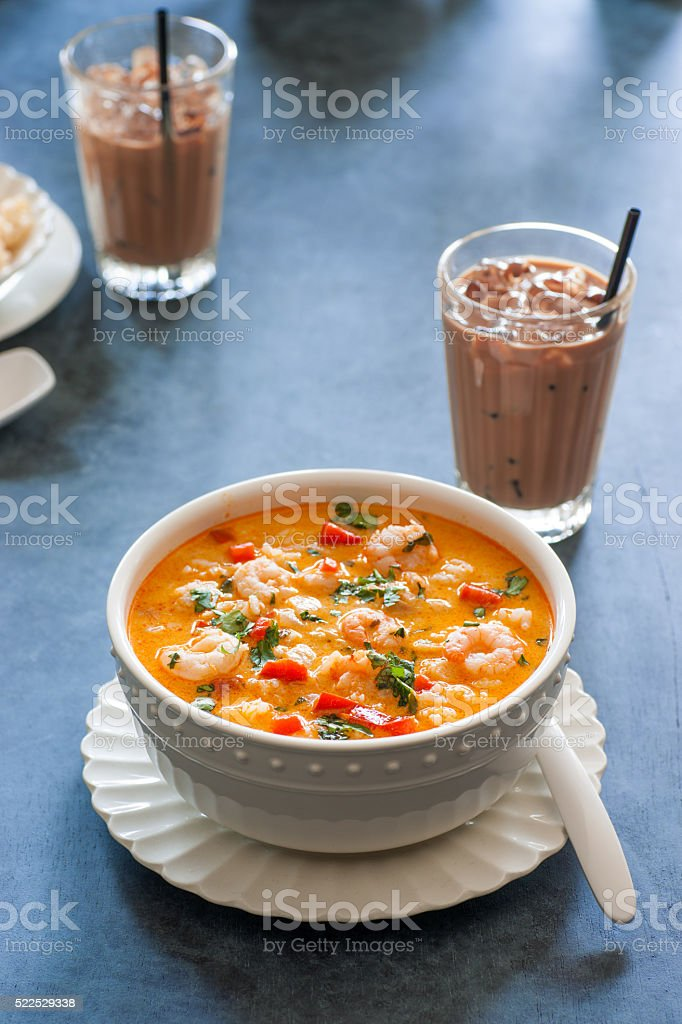 Thai Red Curry and Coconut Soup With Shrimp stock photo