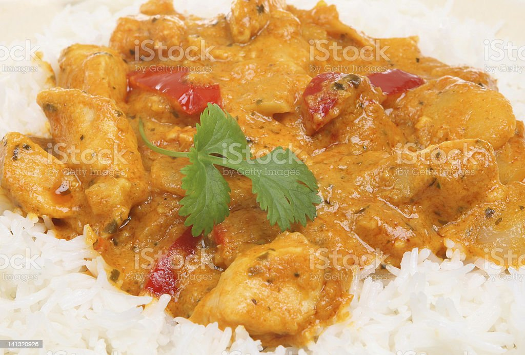 Thai Red Curry with Rice stock photo