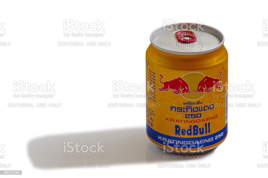Thai RedBull can stock photo