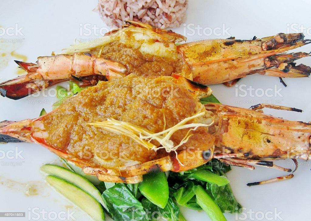 thai rice and prawns stock photo