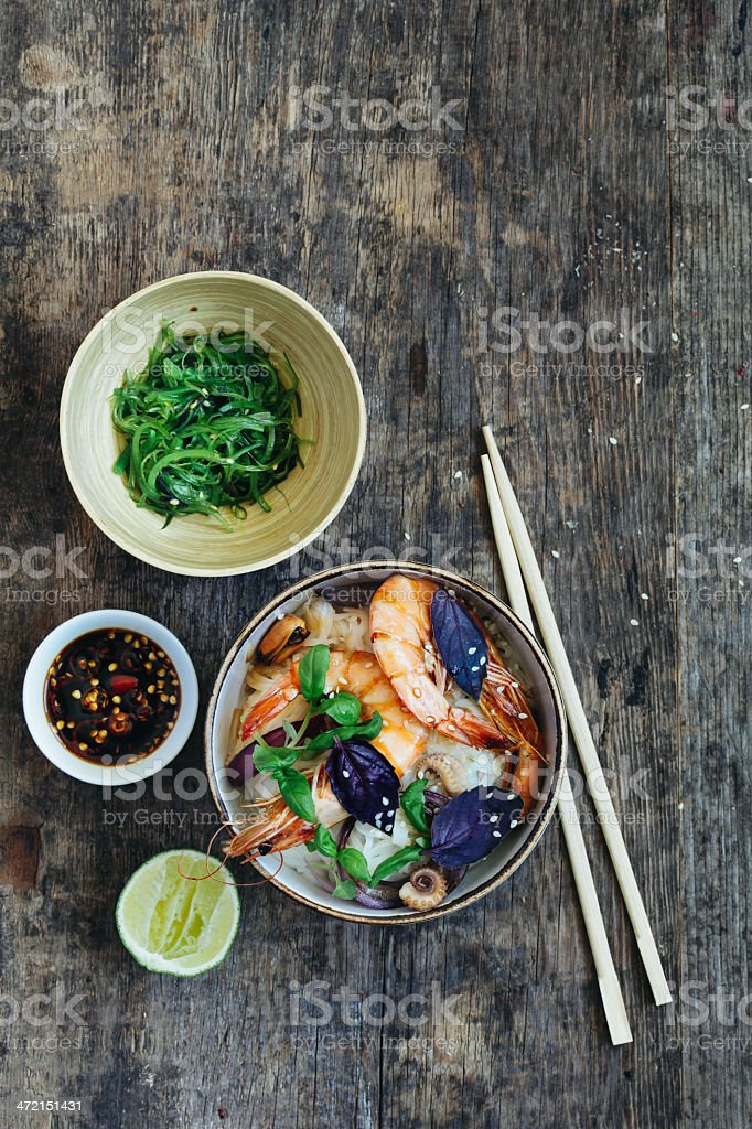 Thai rice noodles with prawn stock photo