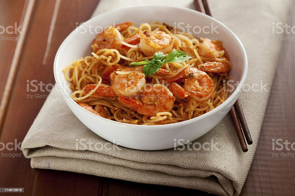 Thai rice noodles with shrimps royalty-free stock photo