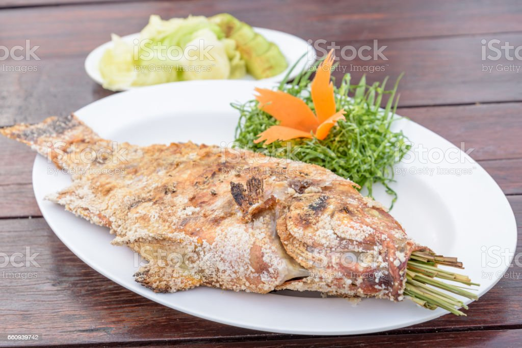 Thai Salt-Crusted Grilled Fish recipe stock photo