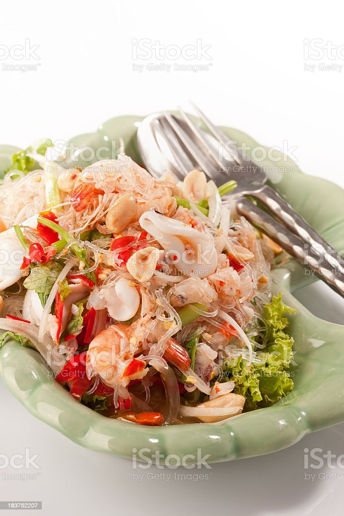 Thai seafood glass noodle salad. royalty-free stock photo
