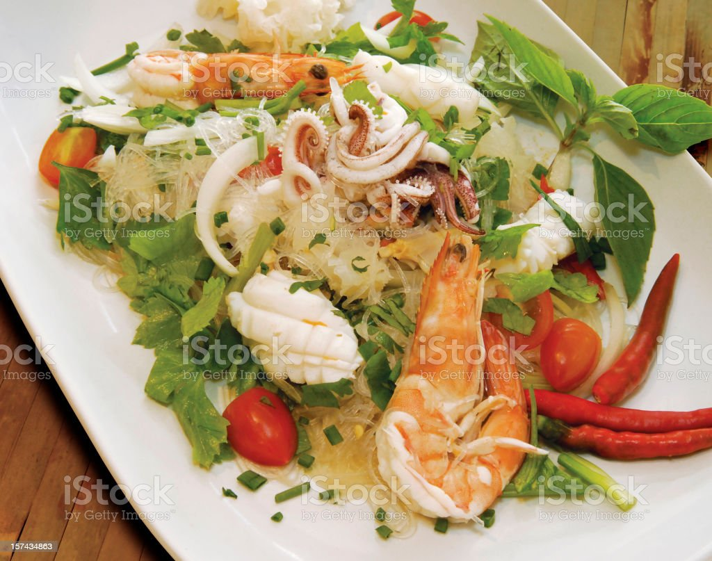 Thai seafood noodle salad with shrimps royalty-free stock photo