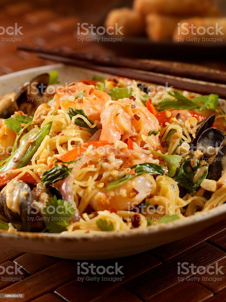 Thai, Seafood Noodle Stir fry with Peanut Sauce stock photo
