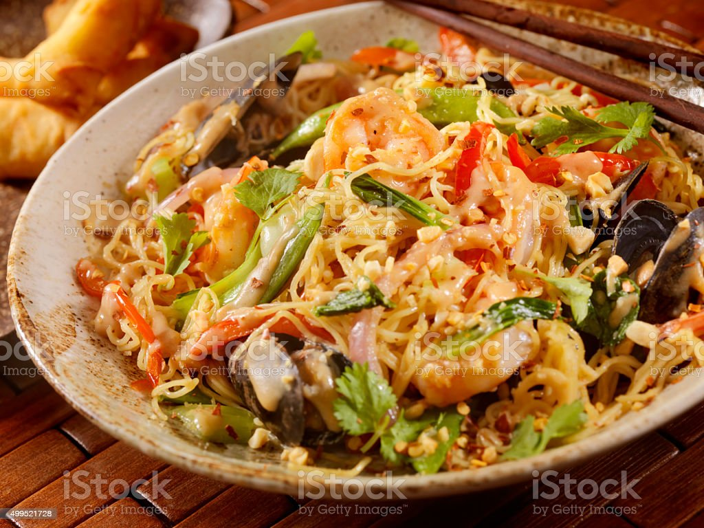 Thai, Seafood Noodle Stir fry with Peanut Sauce stock photo