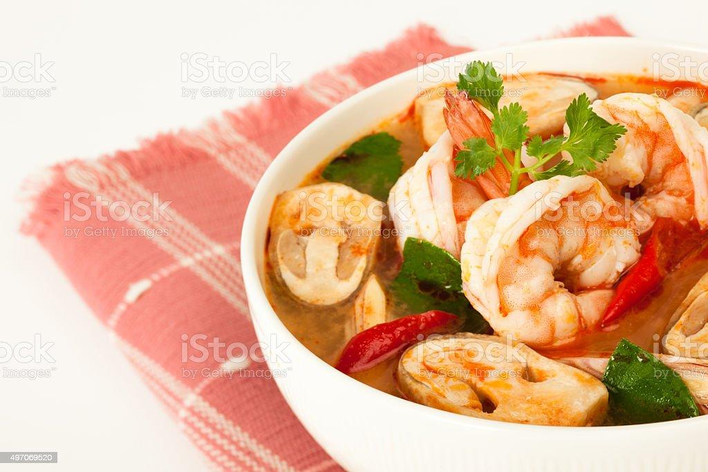 Thai seafood soup stock photo