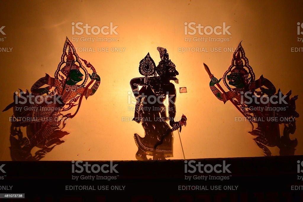 Thai shadow puppet theatre. stock photo