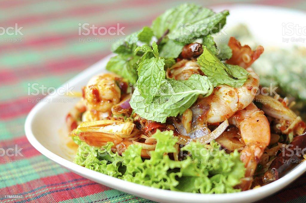 thai shrimp salad stock photo