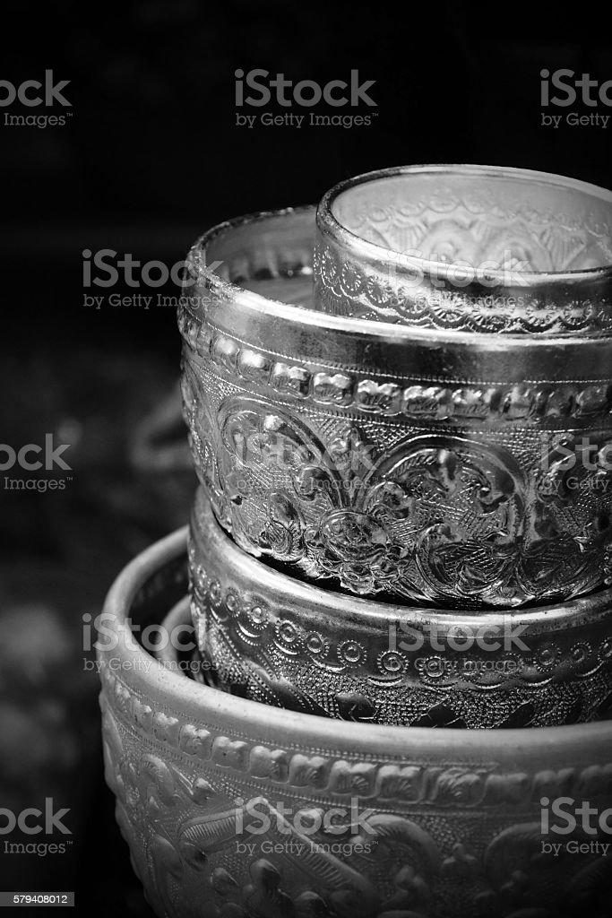Thai Silver Bowl stock photo