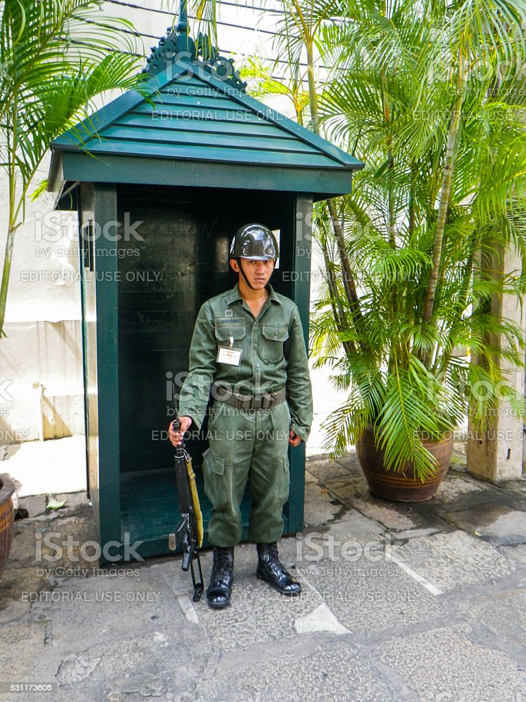 Thai Soldier with Gun Bangkok Thailand stock photo