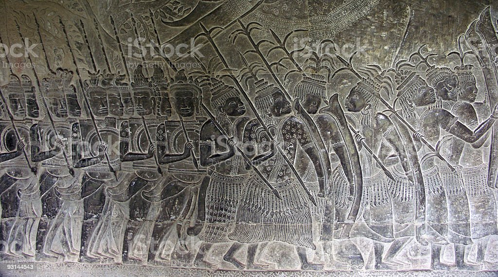 Thai soldiers on the march against Khmer empire royalty-free stock photo