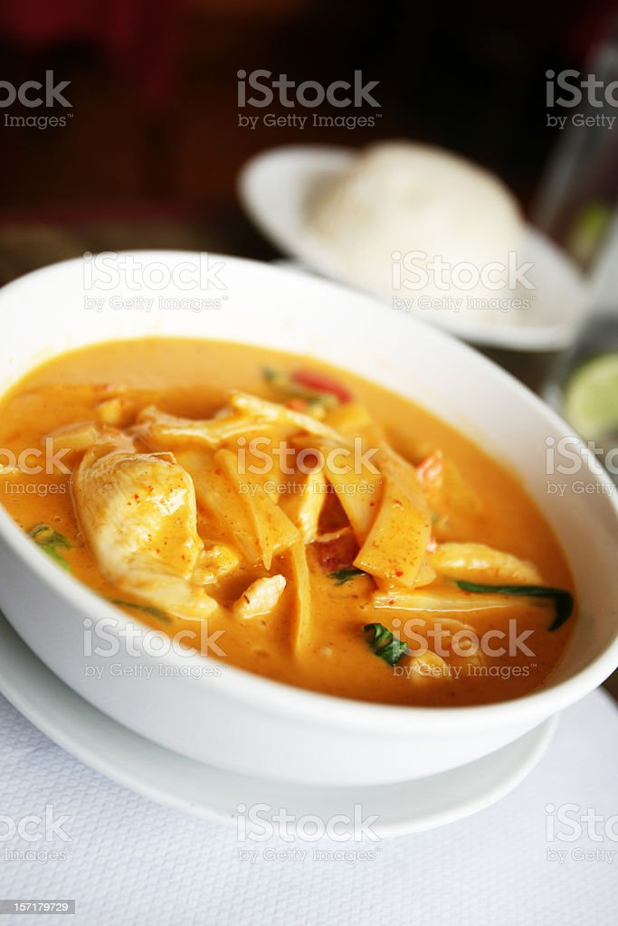 Thai Soup in Bowl Portrait royalty-free stock photo