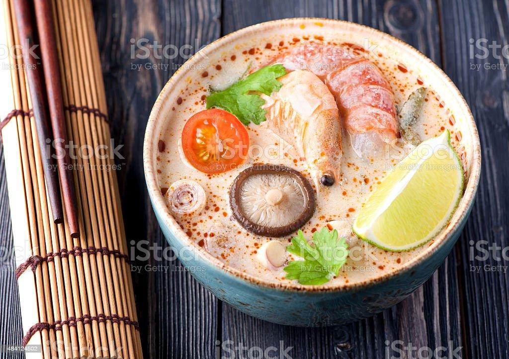 Thai soup Tom Yam stock photo
