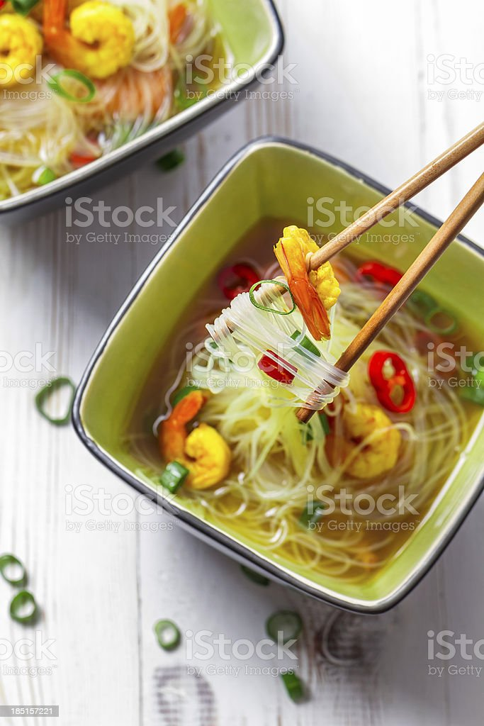 Thai soup with prawns and noodles royalty-free stock photo