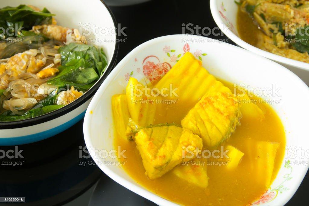 Thai Sour Curry Soup,Thai food 'Kaeng Som' stock photo