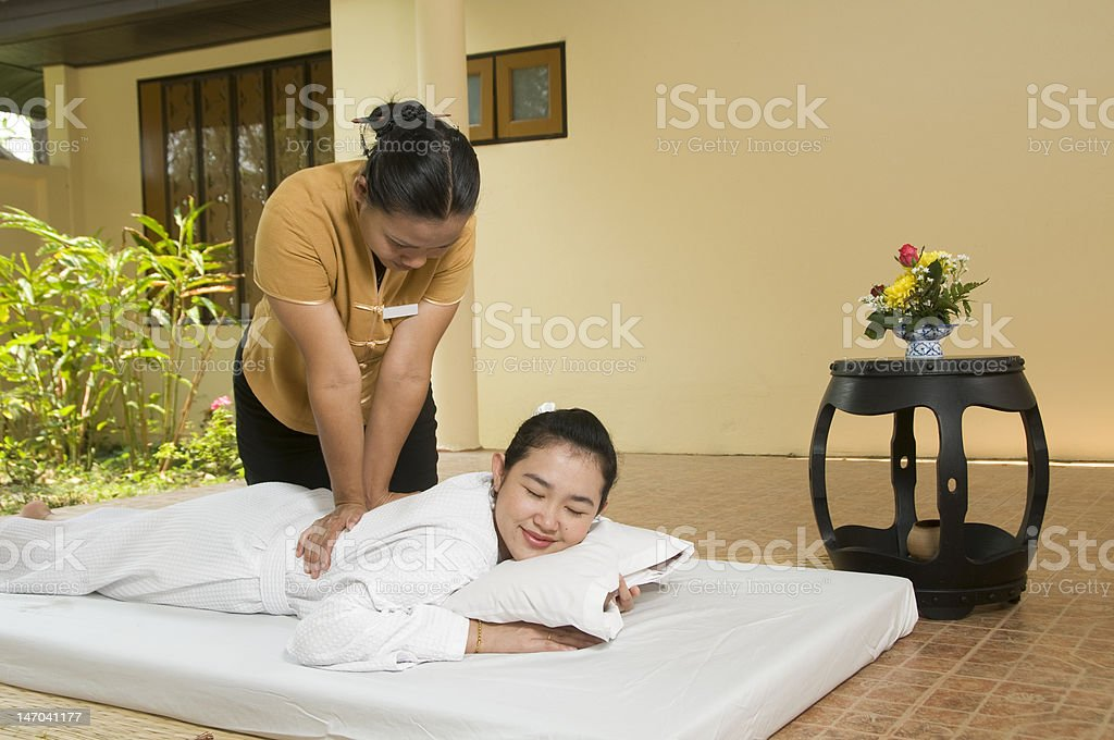 Thai Spa massage outdoors royalty-free stock photo