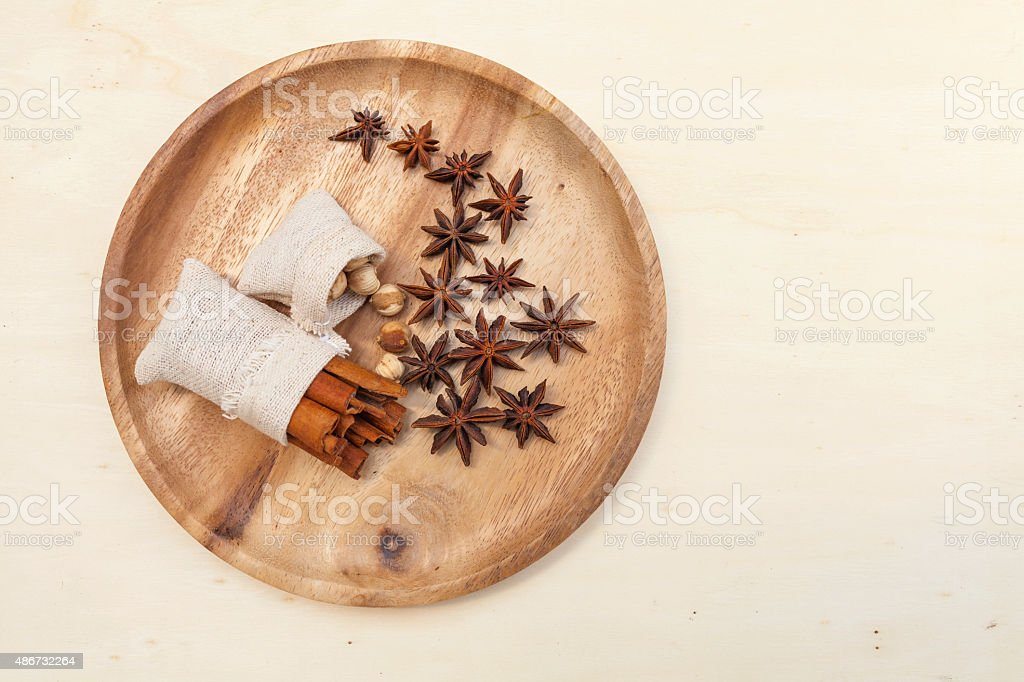 Thai Spices on wooden tray stock photo