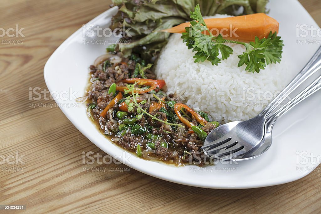 thai spicy food basil beef fried rice royalty-free stock photo