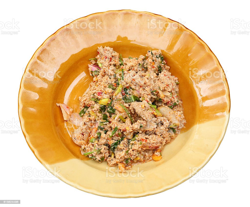 Thai Spicy minced meat in dish stock photo