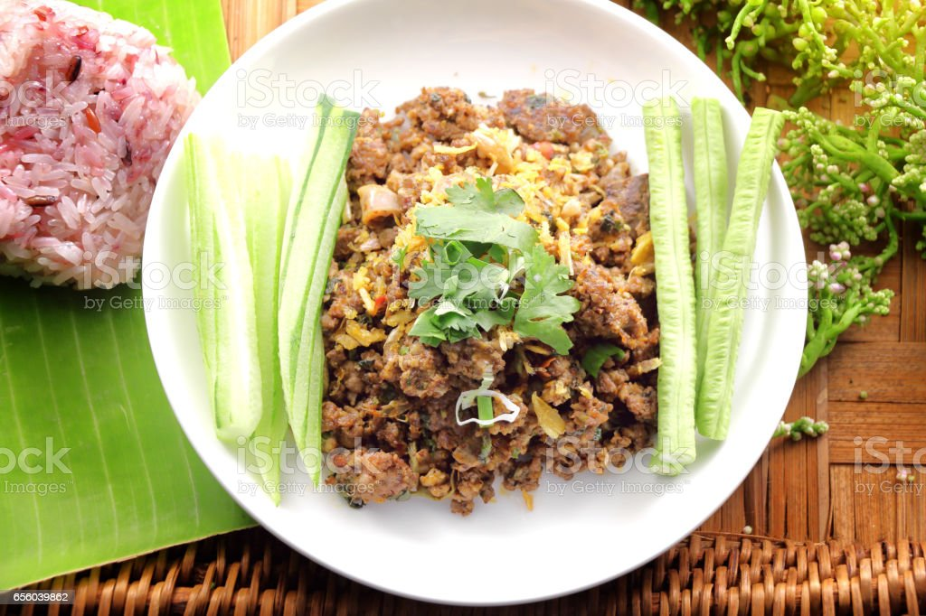 thai spicy minced meat salad. stock photo