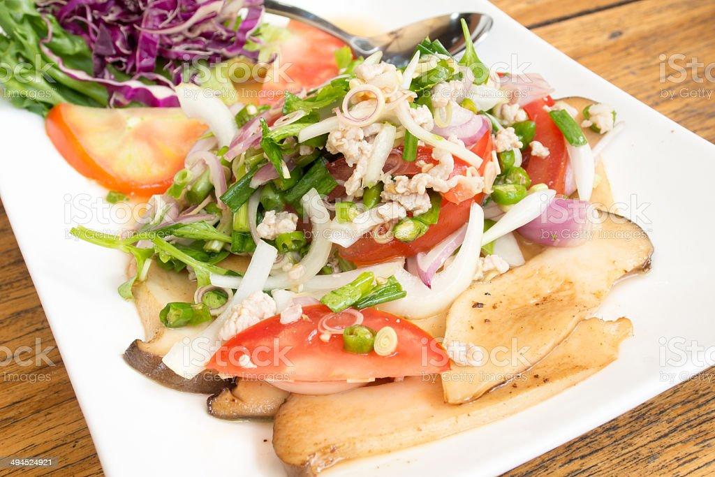 thai spicy mushroom salad royalty-free stock photo