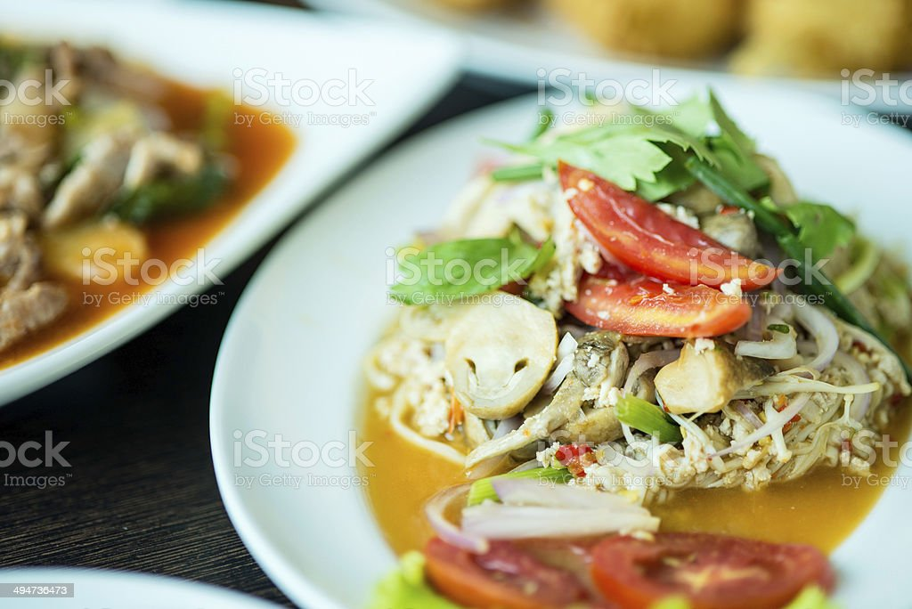 Thai spicy Mushroom  Volvariella  salad royalty-free stock photo