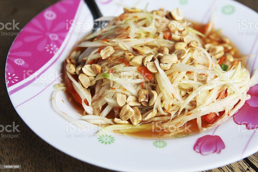 Thai spicy papaya salad royalty-free stock photo
