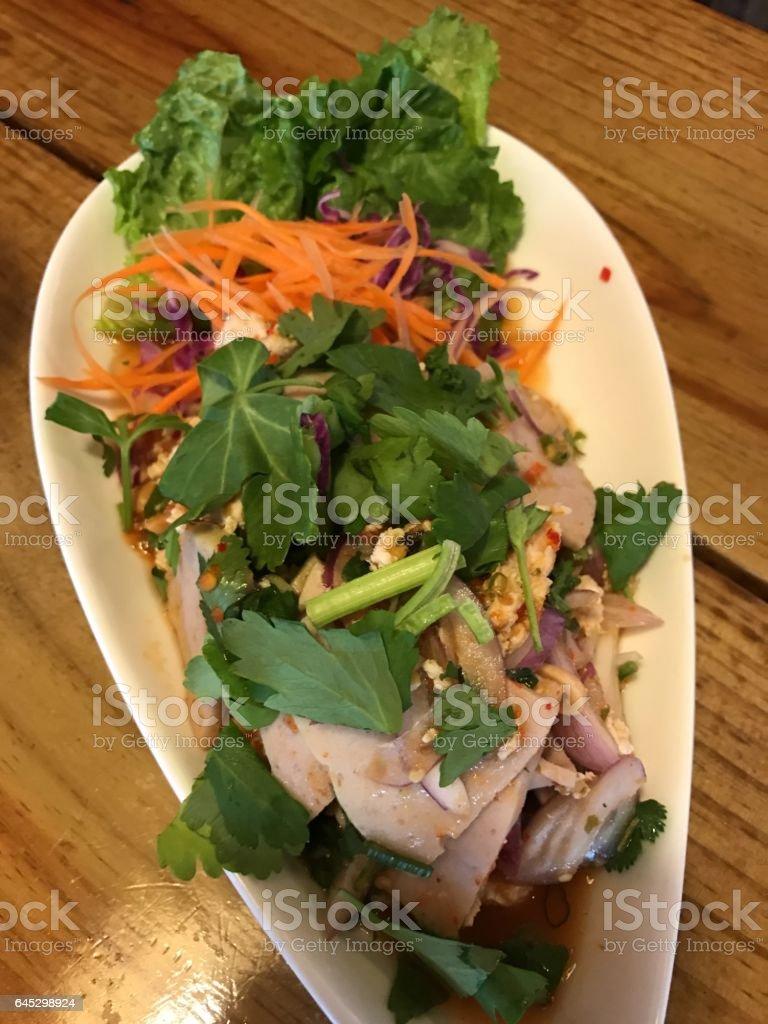 Thai Spicy Pork Ham Salad stock photo