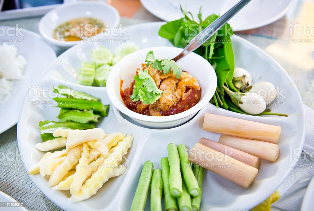 Thai spicy sauce with vetgetable salad stock photo