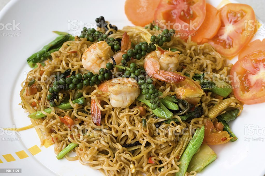 Thai spicy seafood noodle stock photo