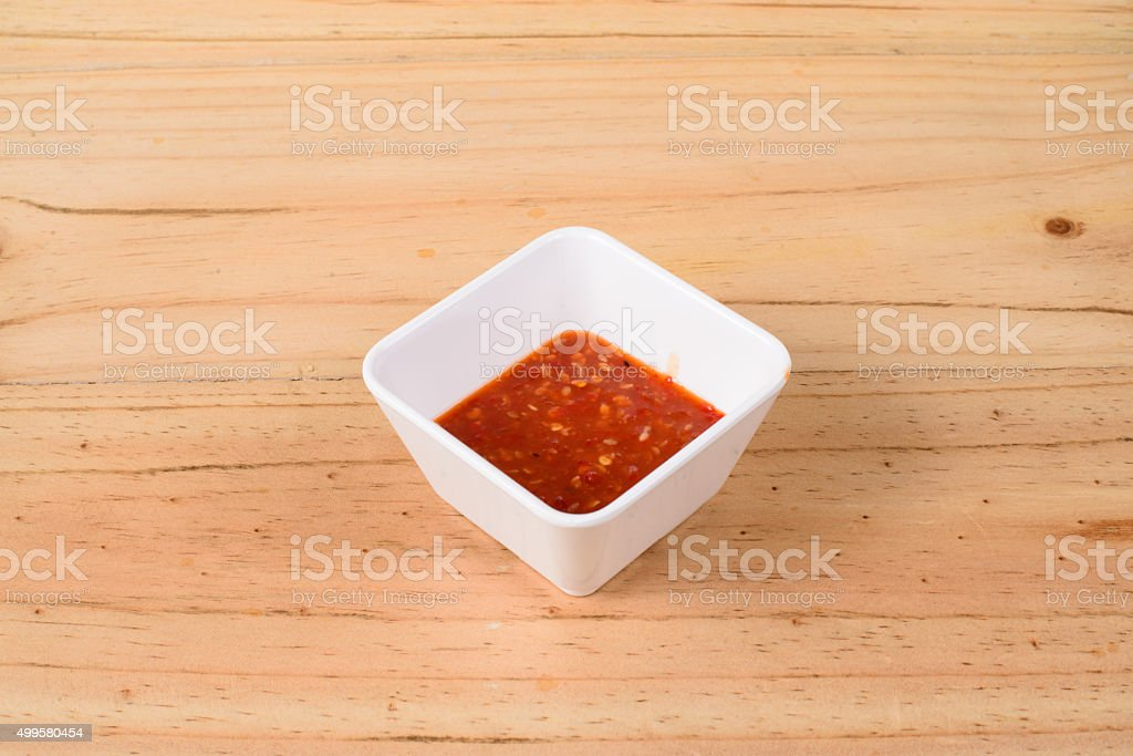Thai spicy seafood sauce stock photo