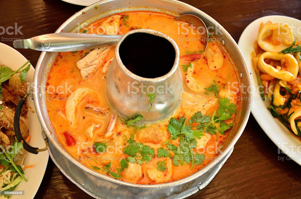 Thai spicy soup (Tom Yam Kung) stock photo