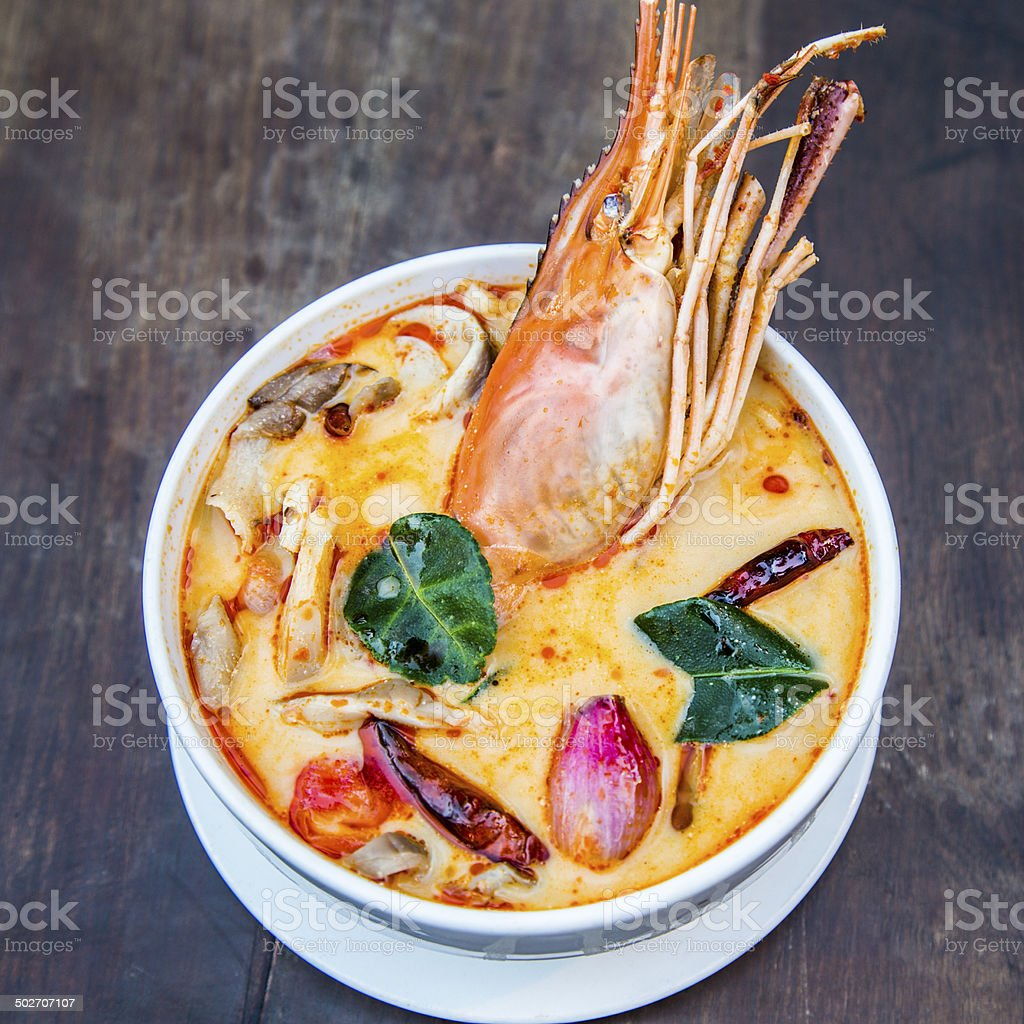 Thai spicy soup. Tom yum koong Thai spicy food. stock photo