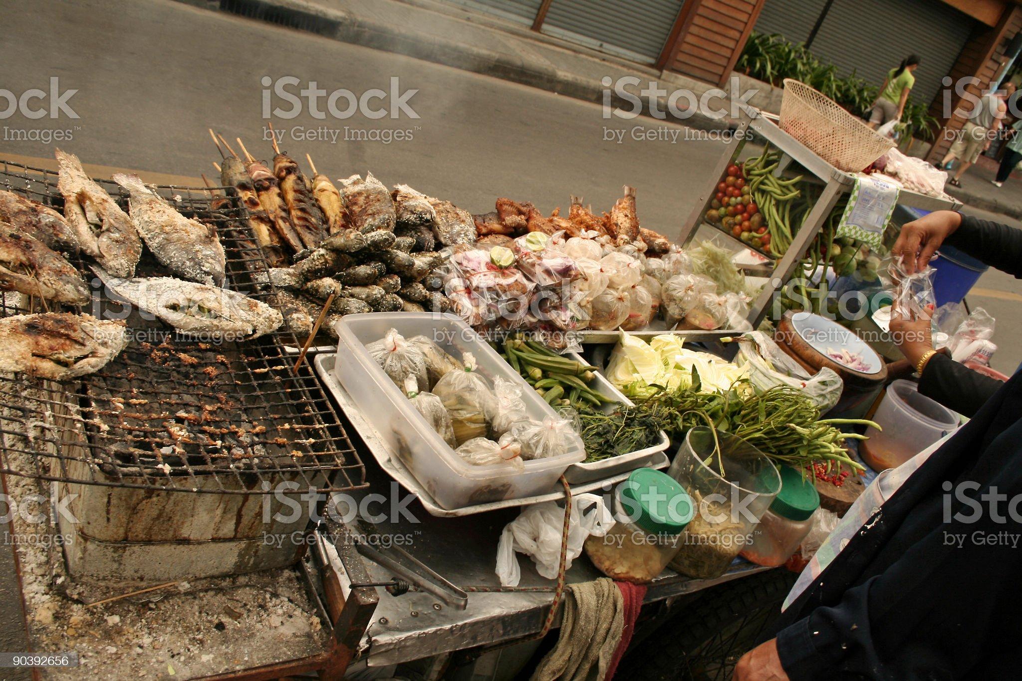thai street food stall bangkok roadside royalty-free stock photo