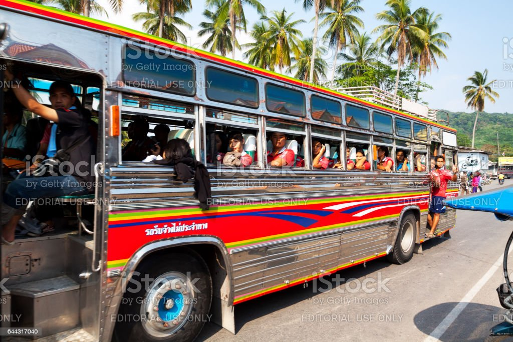 Thai students in coloreful bus in Ao Nang stock photo