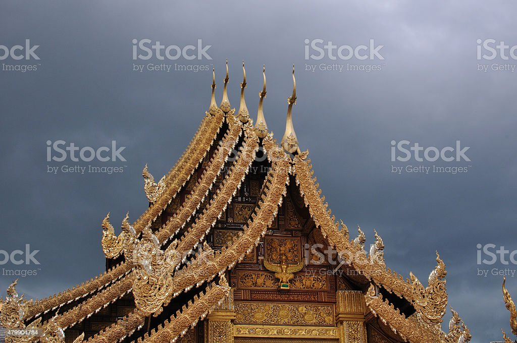 Thai style ancient roof in days was going to rain stock photo
