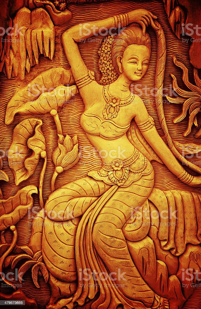Thai style art carving wood, Thailand. stock photo