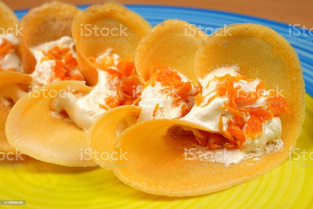 Thai Style Crisp Tart on tray stock photo