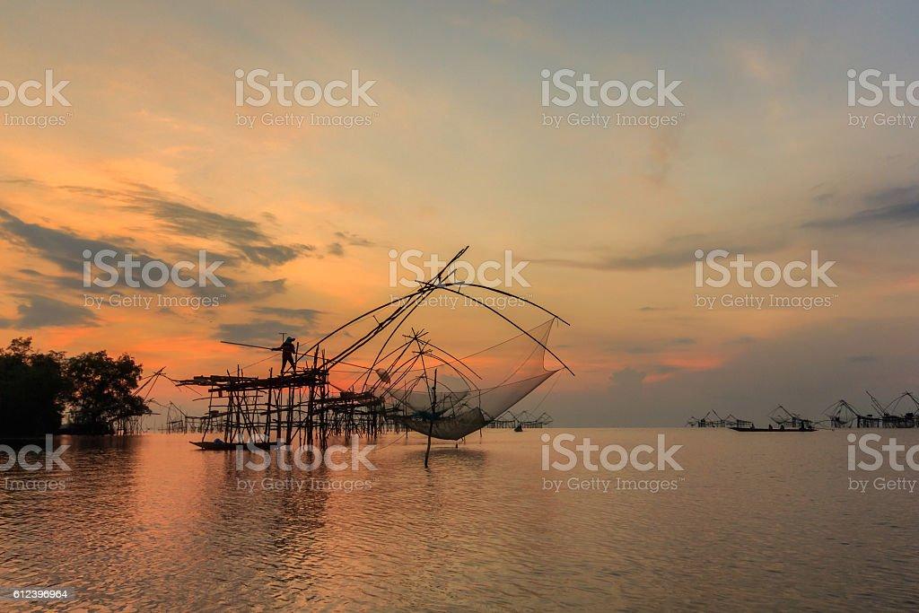 Thai style fishing trap in Pak Pra Village stock photo