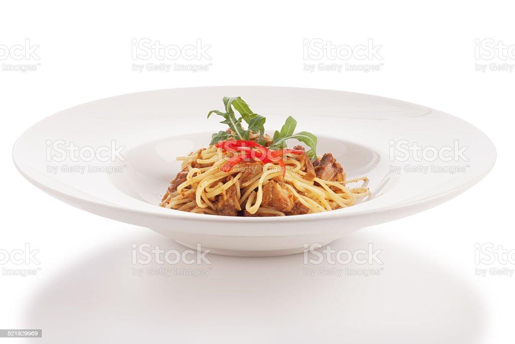 thai style fusion spaghetti stock photo