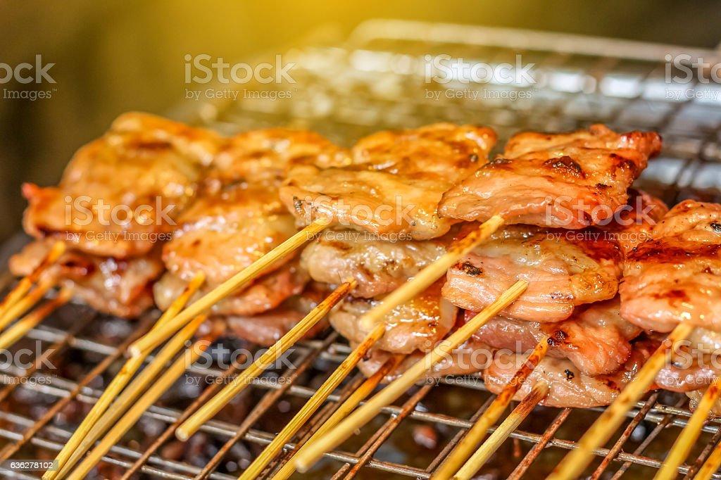 Thai Style Grilled Pork, Barbeque Pork, BBQ Pork stock photo